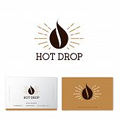 Hot Coffee Drop Logo. Coffee Emblem. Coffee Drop, Like Coffee Bean With Gold Sunrays. Hipster Flat L poster
