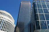 Three buildings in the Canary Wharf financial center in London