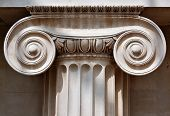 stock photo of pilaster  - Ionic column capital with scrolling volutes - JPG