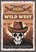 Wild West Retro Poster Of Skull In Sheriff Cowboy Hat And Rifle Guns. Vector Native American Vintage poster
