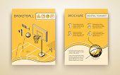 Basketball Tournament Promotional Brochure Or Advertising Flyer Line Art, Isometric Vector Design Te poster