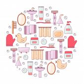 Vector Illustration With Flat Line Cartoon Bathroom Background. Circle Background With Bathroom Soap poster