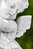stock photo of cherub  - Close up view of a black and white  infant angel or cherub  statue with a diffused green vegetation background - JPG