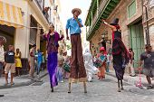 HAVANA-JUNE 4:Stilt dancers in Old Havana June 4,2011 in Havana.Artists performing in the colonial c