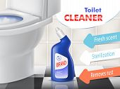 Toilet Cleaner Promotion Banner With White Ceramic Bowl In Lavatory. Blue Plastic Bottle With Liquid poster