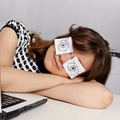 Woman Sleeps In The Office During Working Hours