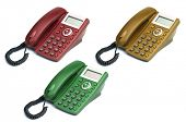 Three digital phones - red, yellow, green, isolated on white background