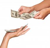 image of holding money  - Hands holding money dollars isolated on white background - JPG