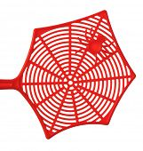 pic of pest control  - Red fly swatter isolated on white background - JPG