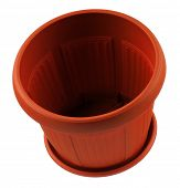 Empty garden plastic pot on a white background