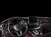 Modern Luxury Car Inside. Interior Of Prestige Car. Comfortable Leather Seats. Brown Perforated Leat poster