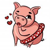 Cute Pig Blows Kiss. Pink Pig Winks With Eye. Fat Adult Pig Sits In Short Skirt. Isolated Vector Ill poster