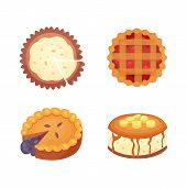 Sweets Desserts Objects Collection, Strawberry Cakes, Fruit And Berry Sweet Pies With Cream. Homemad poster