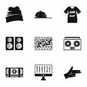 Rap Icon Set. Simple Set Of 9 Rap Icons For Web Design On White Background poster