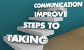 Taking Steps to Improve Communication Words 3d Illustration poster