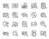 Search Line Icons. Set Of Indexation, Artificial Intelligence And Car Rental Linear Icons. Airplane  poster