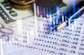Stock Market Graph And Business Financial Data On Led. Business Graph And Stock Financial Indicator. poster