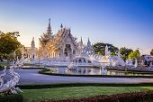 Beautiful And Amazing White Art Temple At Wat Rong Khun Chiang Rai, Thailand It Is A Tourist Destina poster
