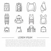 Vector Illustration With Cartoon Flat Backpack And Sport Suitcase. Flat School Backpack. Mountain To poster