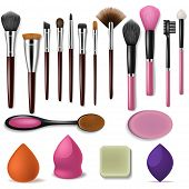 Makeup Brush Vector Professional Beauty Applicator Accessory And Fashion Brushed Tools For Powder Bl poster