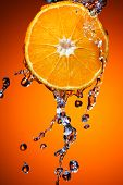 Orange with water splash