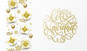 Feliz Navidad Merry Christmas Spanish Golden Greeting Card, Gold Gifts, Stars Confetti And Snowflake poster