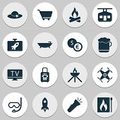 Tourism Icons Set With Rocket, Bathroom, Underwater Mask And Other Lab Elements. Isolated Vector Ill poster