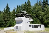 VOLOGDA, RUSSIA - JUL 01: Tank t-34 on pedestal - monument to heroes of Soviet Union on Jul 01, 2011