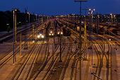 picture of railroad yard  - Classification yard near Hamburg - JPG