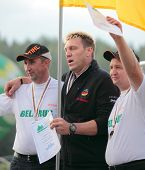 RAUBICHI, BELARUS - AUGUST 25: German M. Trabert (center), Belarussians A. Andron (left) and V. Duro
