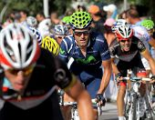BARCELONA - AUG, 26: Movistar Team spanish cyclist Jose Joaquin Rojas rides with the pack during the