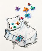 Good dreams concept with bed and butterflies, watercolor with slate-pencil painting