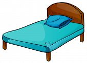 illustration of bed and pillow on a white background