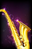 illustration of golden saxophone on abstract musical background
