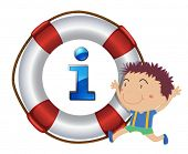 illustration of a boy and lifesaver floating on a white background