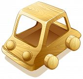 Illustration of a toy wooden car