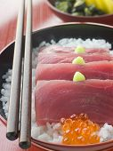 picture of yellowfin tuna  - Sashimi of Yellow Fin Tuna on Rice with Salmon Roe Pickles and Wasabi - JPG
