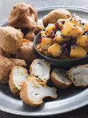 Pakoras- Mushroom And Cauliflower With Mango Mustard And Pomegranate Salad