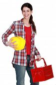 Portrait of a tradeswoman arriving at work