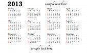 Generic 2013 Calendar Landscape