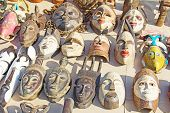 African masks on the traditional market