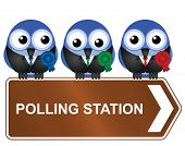 Comical polling station sign