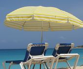 Beach Chairs with Yellow Umbrella