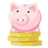 Hucha y monedas