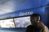 Inside a Haitian public vehicle called tap-tap