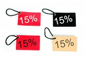 Four Types Of Fifteen Percent Red Paper Tag