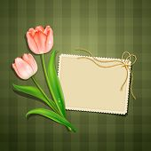 Tulips and paper card