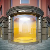 A 3D illustration of corner empty showcase in classical style.