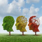 stock photo of psychology  - Brain aging and memory loss due to Dementia and Alzheimer - JPG