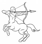 stock photo of centaur  - An illustration of a stylised black centaur archer perhaps a centaur archer tattoo - JPG